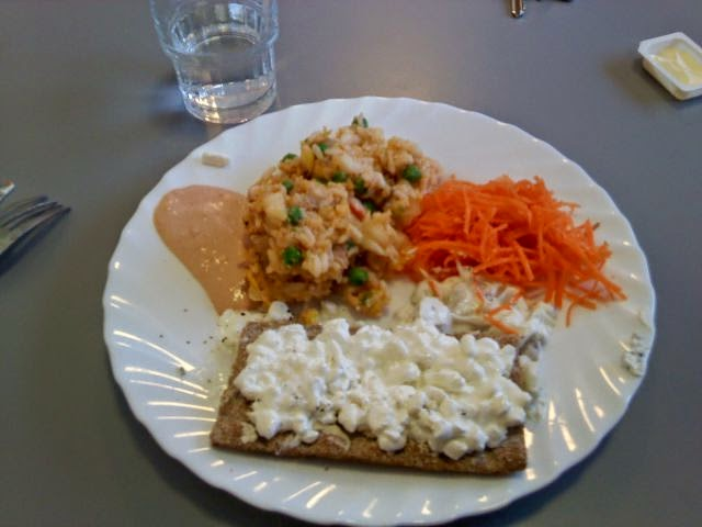 Country: Sweden Contents: Chicken salad, cottage cheese on knäckebröd, shredded carrot, sauce.