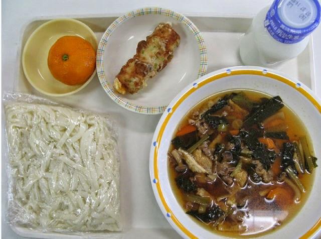 Country: Japan Contents:Udon, cheese-stuffed chikuwa (fish sausage), frozen Mandarin orange, and milk.