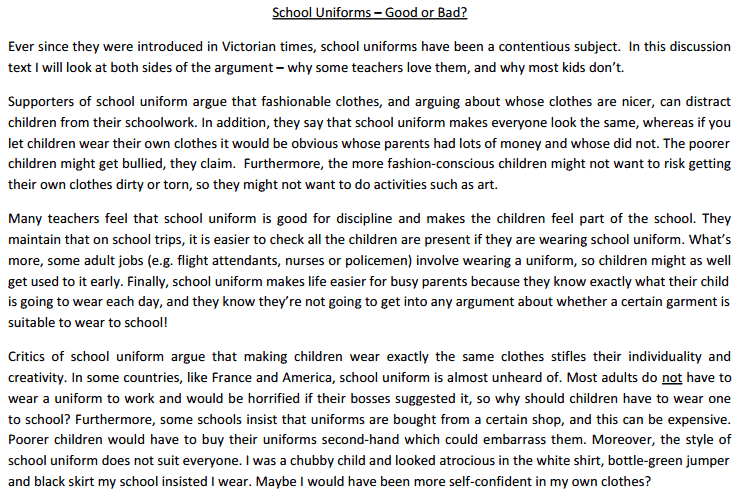 a description on whether school uniforms should be required in middle school  why students should be required to wear school uniforms jacob  middle, and high school  wear uniforms whether school uniforms should be worn by .