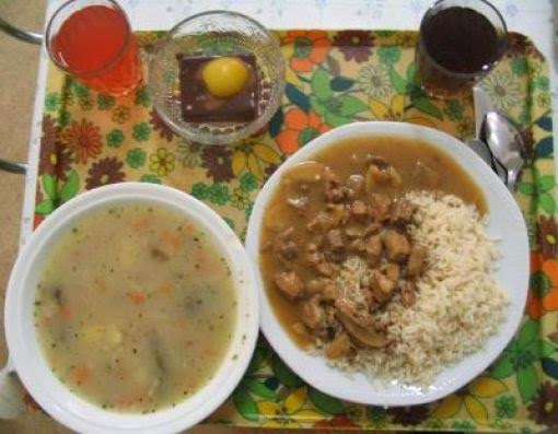 Country: Czech Republic (Prague) Contents: Soup, rice, chicken, dessert, juice and hot tea.