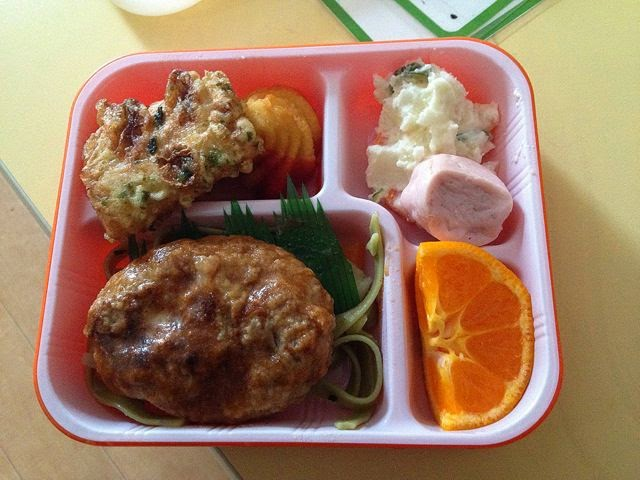 Country: Japan Contents: Tofu hamburger with pasta, fishcake, fried potato with ketchup, potato salad, wiener, and mikan (tangerine).
