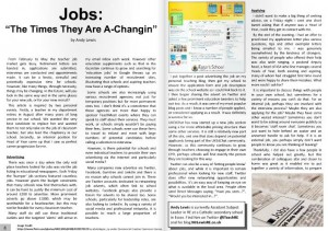 """Jobs: """"The Times They Are A-Changing"""" by Andy Lewis. Explores how digital media is changing how people now search for the next steps on their career ladder."""