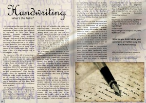 Handwriting - What's the Point. We ask whether the skills of handwriting need to be taught in this age of keyboards and finger swiping!