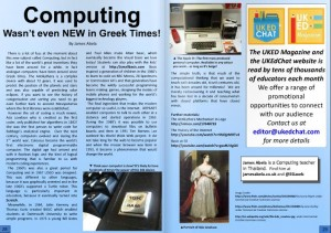 Computing - Wasn't even NEW in Greek Times, by James Abela. A look into the history of computing and the developments to get us to where we now are.