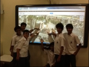 Here children from a partner school in Abu-Dhabi pointed out our school on Google Earth. This partnership lasted two terms for us and allowed the children to share books, experiences and their school life with other children around the world.