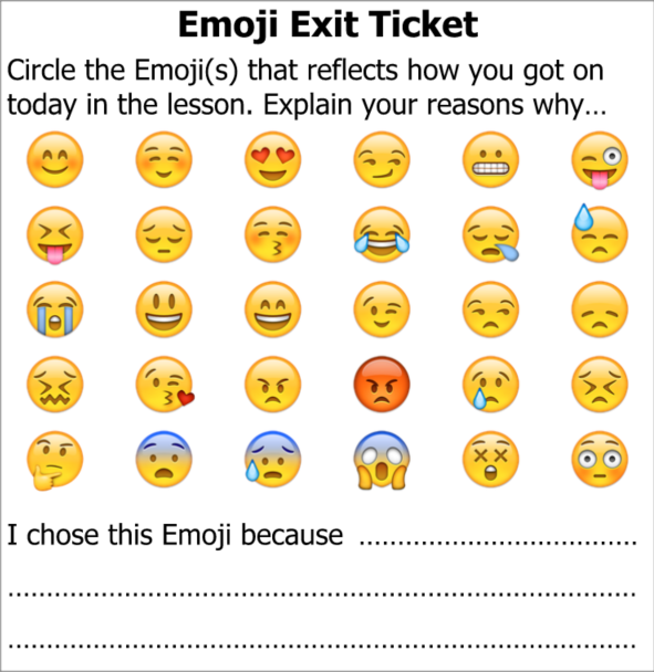 Exit Ticket Emoji by @87history – @UKEdResources – UKEdChat