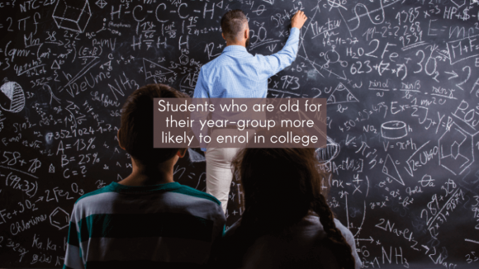 Students who are old for their year-group more likely to enrol in college